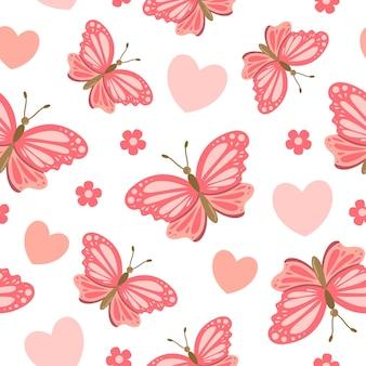 心と花とかわいい蝶の漫画のシームレスなパターン
