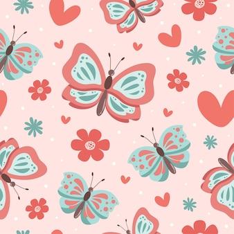 心とかわいい蝶の漫画のシームレスなパターン