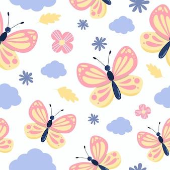 花と雲とかわいい蝶のシームレスなパターン