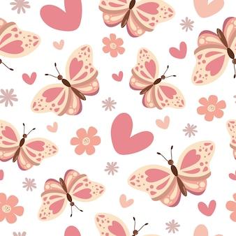 心と花とかわいい蝶のシームレスなパターン