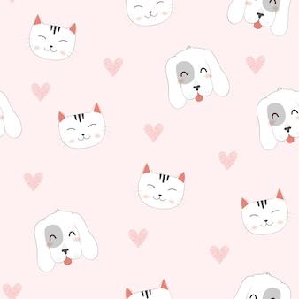 かわいい漫画猫、犬のシームレスパターン。