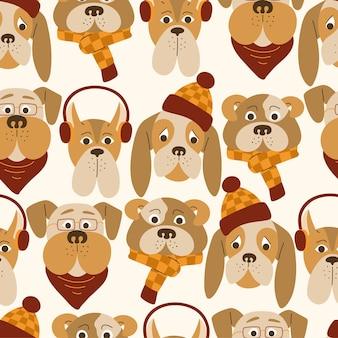 秋の服やアクセサリーとかわいい漫画の犬のシームレスなパターン。