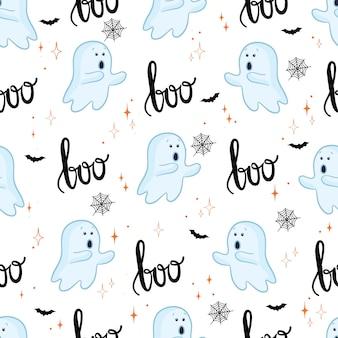 Бесшовный фон из милых мультяшных призраков с разными лицами.