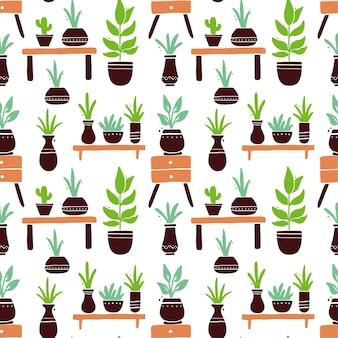 葉と鍋とかわいい漫画の観葉植物のシームレスなパターン