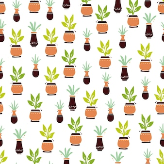 Бесшовный фон из милых мультяшных домашних растений с листом и горшком