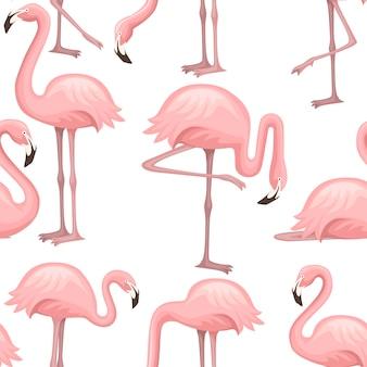 귀여운 만화 복숭아 핑크 플라밍고 만화 동물 디자인 일러스트 레이 션의 완벽 한 패턴