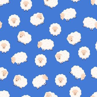 Бесшовный фон милый мультфильм овец в разных позах плоский стиль.