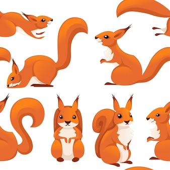 かわいい漫画リス漫画動物キャラクターデザインイラストのシームレスなパターン