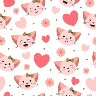 心と花とかわいい猫の漫画のシームレスなパターン