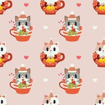 Бесшовный узор милый кот сидит в чашке.