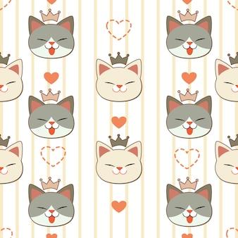 クラウンとハートのかわいい猫のシームレスなパターン。