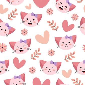 心と花とかわいい猫のシームレスなパターン