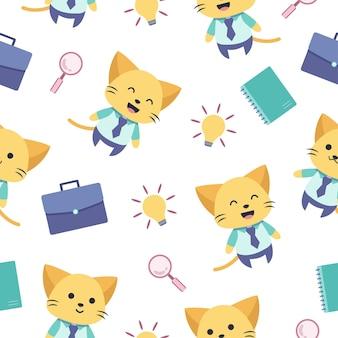 かわいい猫の漫画のシームレスなパターンが仕事に行きます
