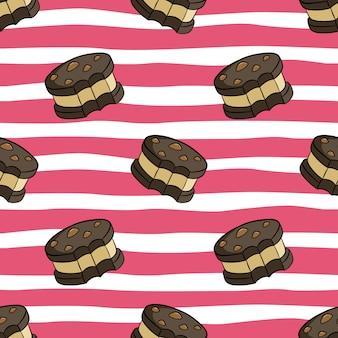 色の落書きスタイルのかわいいクッキーのシームレスパターン