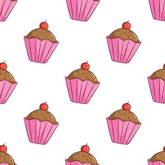 桜のトッピングでかわいいカップケーキのシームレスパターン