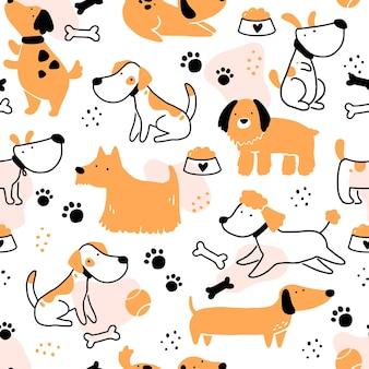 かわいい犬の子犬のシームレスなパターン。シンプルな形のスタイルで漫画の面白くて幸せな犬のキャラクター。背景、壁紙、テキスタイル、ファブリックのイラスト。