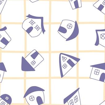 Бесшовный образец милых домов каракули на желтом клетчатом фоне. идеально подходит для ткани, упаковки, обоев, текстиля, домашнего декора.