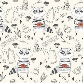 SEAMLESS PATTERN OF CUTE DOODLE RACCOON WITH COFFEE