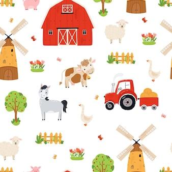 Бесшовный фон милой фермы. фон сельскохозяйственных животных в плоском стиле. иллюстрация с лошадью, коровой, свиньей, овцой, сараем, таверной, мельницей для обоев, тканью, текстилем, дизайном оберточной бумаги. вектор