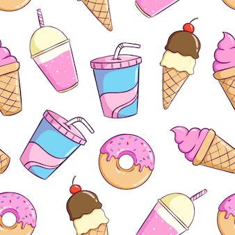Безшовная картина милой еды с красочным стилем doodle