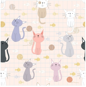Seamless pattern of cute funny cat