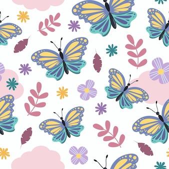 花とかわいいガーリー蝶漫画のシームレスなパターン