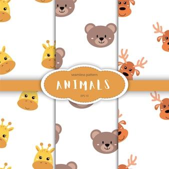かわいい手のシームレスなパターンには、眠っている動物が描かれています。漫画の動物園。北欧風の子供向け製品のデザイン用動物。