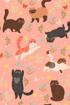 かわいい子猫と蝶のシームレスなパターン。