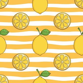 色の落書きスタイルで夏のコンセプトのかわいいレモンのシームレスパターン