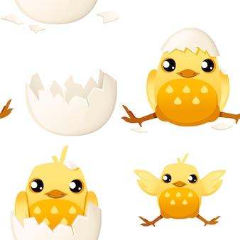 卵の殻のイラストから帽子とかわいい小さな漫画のひよこのシームレスなパターン