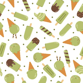かわいい抹茶アイスクリーム漫画のシームレスなパターン