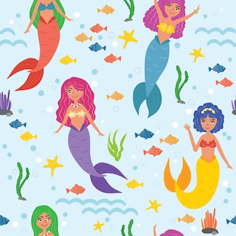 아이들을 위한 귀여운 인어들의 매끄러운 패턴입니다. 화려한 머리, 귀여운 소녀들. 벡터 일러스트 레이 션. 해초, 불가사리, 파도, 물고기, 거품. 바다 만화 스타일 아래