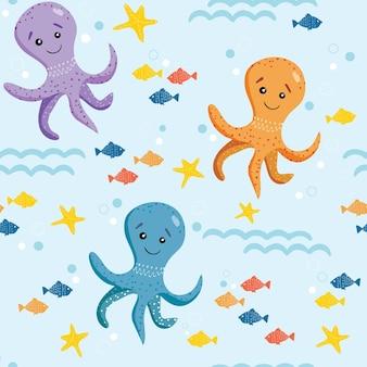 かわいいタコ、ヒトデ、小魚のシームレスなパターン。シンプルな手描きスタイルのベクトルイラスト。漫画のキャラクター。タコ、魚、海、海。夏と子供の背景。