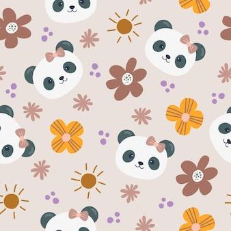 かわいいパンダ漫画のシームレスなパターン