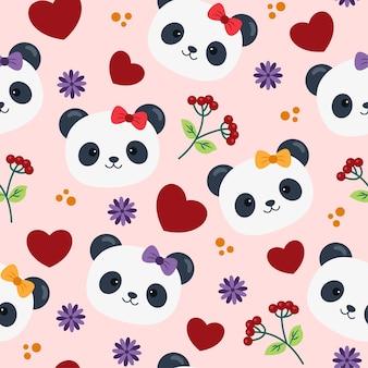 心と花とかわいいパンダのシームレスなパターン