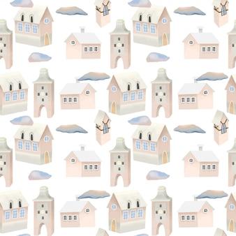 かわいいピンクの家と空の雲のシームレスパターン