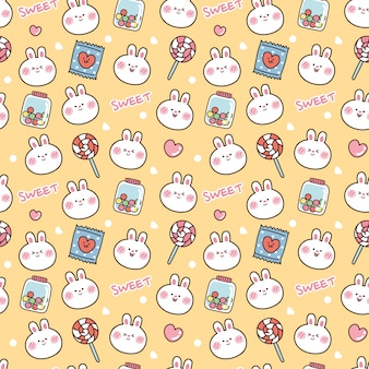 甘いかわいいウサギのシームレスなパターン。動物漫画