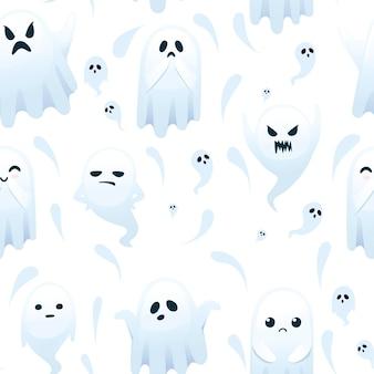 흰색 바탕에 얼굴 만화 캐릭터 디자인 평면 벡터 삽화에 다른 감정을 가진 귀여운 무서운 작은 유령의 원활한 패턴입니다.