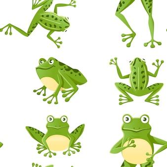 흰색 바탕에 지상 만화 동물 디자인 평면 벡터 일러스트 레이 션에 앉아 귀여운 웃는 녹색 개구리의 완벽 한 패턴입니다.
