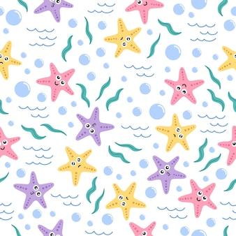 海のかわいいヒトデ漫画のシームレスなパターン