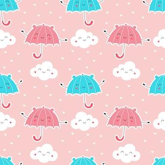 Бесшовные милые зонтики с облаками, дождь из сердец.