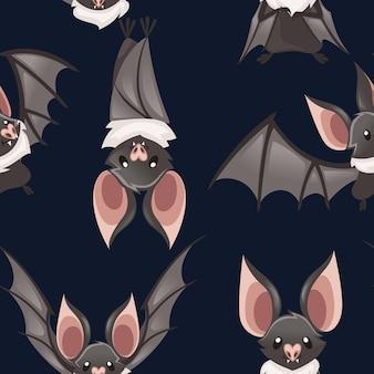 かわいい吸血コウモリのイラストのシームレスなパターン