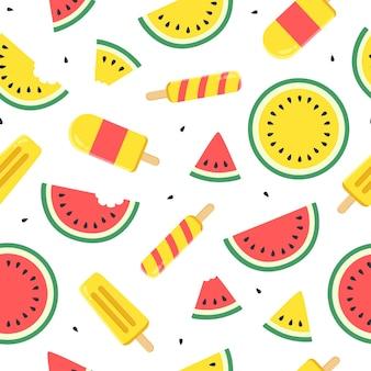 かわいいスイカのアイスクリームとスイカの果実のシームレスなパターン