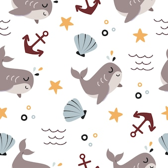 海のかわいいクジラ漫画のシームレスなパターン
