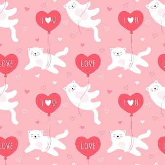 風船で飛んでいるかわいい白猫のシームレスなパターン。