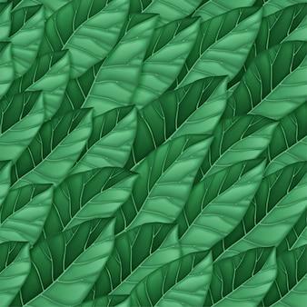 Бесшовный фон из темно-зеленых листьев. повторяющийся узор листьев. текстуры для фона, обои, текстиль, упаковка, печать. иллюстрации.