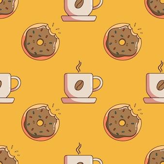Бесшовные модели десерта и чашки кофе в стиле каракули