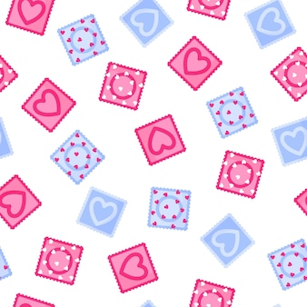 콘돔의 다양 한 색상의 완벽 한 패턴