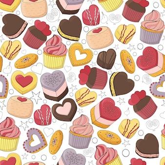 さまざまなデザート、バレンタインデーのケーキのシームレスなパターン。手で書いた。