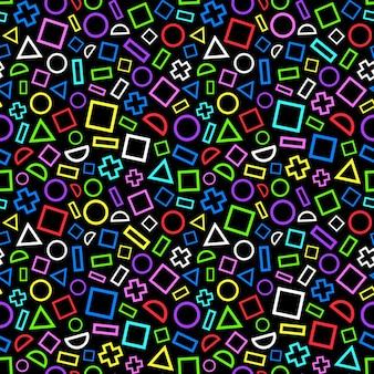 Бесшовный фон из различных геометрических красочных форм и фигур. абстрактный фон в стиле вечеринки